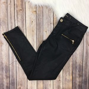 Zara Liquid Black Skinny Moto Zip Pants Slim Fit